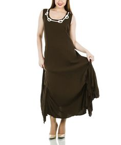 Another great find on #zulily! Khaki Ruched Scoop Neck Maxi Dress - Plus #zulilyfinds