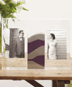 Clearly Love Sand Ceremony Shadow Box with Photo Frames. This is so pretty I need one for my wedding.