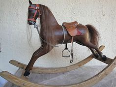 ANTIQUE GERMAN ROCKING HORSE 1910 DRESSAGE HORSE SOLID WOOD A DONDOLO