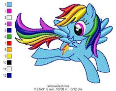 Rainbow Dash. Design for embroidery machine. My Little Pony. Free gift
