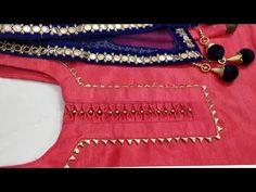 Party wear suit neck design with gotta Patti lace Churidhar Neck Designs, Neck Designs For Suits, Neckline Designs, Sleeves Designs For Dresses, Fancy Blouse Designs, Blouse Neck Designs, Sleeve Designs, Blouse Styles, Punjabi Suit Neck Designs