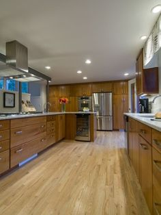 Love the combination of wood between the floor and cabinets. rowland + broughton