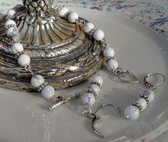 Howlite Gemstone Silver Beaded Bracelet by HeartStringsJewelry, $50.00