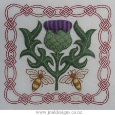 This is a modern Scottish Thistle design based on Padded Needlelace. (commonly used in Raised Elizabethan designs) Pockets of Needle Lace are stitched directly onto the fabric and then padded to produce raised stitched areas. Metallic thread add texture and appeal to the design.