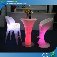 LED illuminated furniture outdoor plastic tables and chairs www.goldlik.com