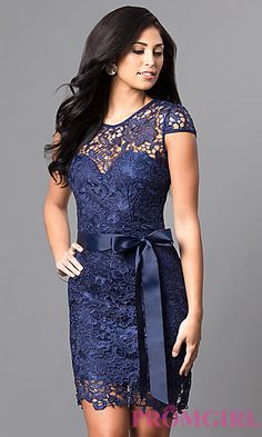 Lace cap sleeve dress with side ruffles style xs3393w