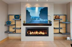 Click to view a larger image of this Mendota Fullview FV47 MOD Linear fireplace scene