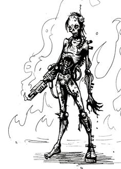 cyborg zombie coloring page