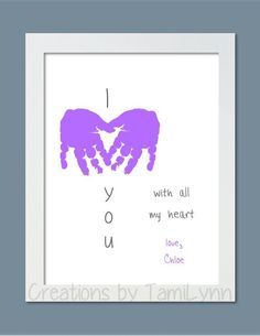 I Love You Baby Handprint Art Personalized by CreationsbyTamiLynn