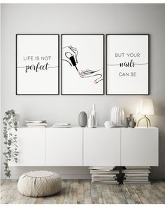 Set of 3 Nail Quote Manicure Beauty Salon / Poster Prints
