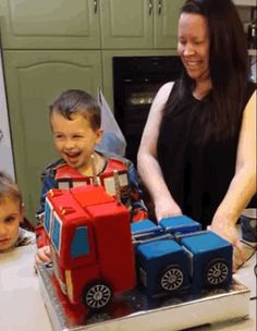 A 6-year-old boy's dreams came true when he ambitiously asked his parents for a Transformers birthday cake. YouTube user Russell Monro and his wife teamed up to make their kid a cake that actually transforms. Using a 3D printer, Monro created a moving platform that holds the cake, which was made by his