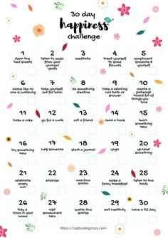 Want To Know How To Be Happy? Take This 30 Day Happiness Challenge! - Captivating Crazy Want To Know How To Be Happy? Take This 30 Day Happiness Challenge! - Captivating Crazy,Self-Care & Self-Love 30 Day Happiness Challenge Infrographic Compliment Someone, Vie Motivation, Happiness Challenge, Ways To Be Happier, 30 Day Challenge, Thigh Challenge, Plank Challenge, Monthly Challenge, Best Shampoos