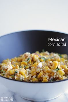 Mexican Corn Salad, a great party food, side dish & potluck recipe.  Everyone loves this dish!