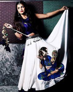 Royal Blue & White Patch Worked Garba Choli