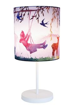 Bring the outdoors inside of your little ones room with natures most beautiful features in watercolour with the Little Girl On Swing Table Lamp from Micky & Stevie.