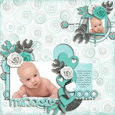 Gorgeous layout by Julie/Mother Bear using Templ•Ettes x 2 & Aqua Mist...LOVE this one!