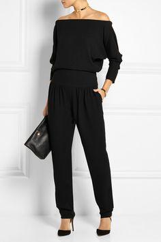 Chloé|Off-the-shoulder silk-blend crepe jumpsuit|NET-A-PORTER.COM