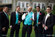 Turquoise groomsmen vests & ties