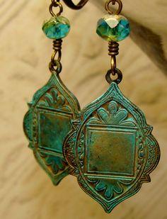 Boho gypsy aqua picasso patina earrings by pameliadesigns on Etsy, $32.00