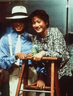 Michael Jackson and Sean Lennon on the set of Smooth Criminal