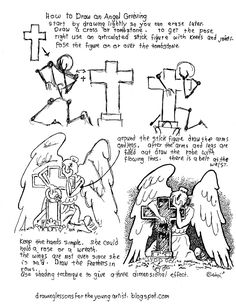 How to Draw Worksheets for The Young Artist: How To Draw An Angel Grieving At A Grave, Worksheet. see more at my blog: http://drawinglessonsfortheyoungartist.blogspot.com/