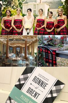 """Braveheart"" red plaid Scottish tartan wedding ideas: strapless bridesmaid dresses, table covering and decor, invitations"