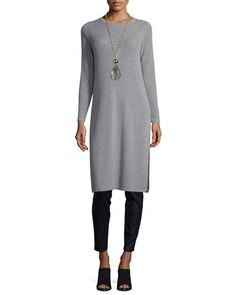 -6SVG Eileen Fisher  Long-Sleeve Ribbed Cashmere Drama Tunic  Coated Stretch Denim Leggings, Black