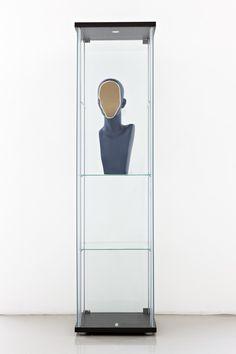 "Nina Beier [Denmark / Germany] (b 1975) ~ ""Facing Figure"", 2012. Modified plastic bust in glass vitrine (60 x 30 x 30 cm).   #art #sculpture #conceptual_art #installation"