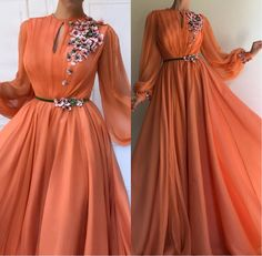 New Fashion Orange Long Sleeves Flowers Dubai Evening Dresses A-Line Chiffon Long Prom Gown Robe Hijab Evening Dress, Cheap Evening Dresses, Evening Gowns, Formal Dresses With Sleeves, Formal Gowns, Hijab Style Dress, Long Prom Gowns, Beautiful Dresses, Party Dress