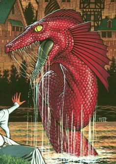 Apotamkin- Native American myth: a sea serpent that has long red hair and drags unwary, unsupervised children into the water and eats them. It was once a beautiful woman who was turned into a monster.
