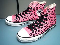 cute pink cheeta printed converses! #converses