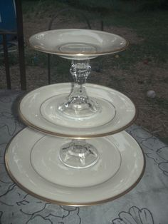 vvintage white and gold  3 tier china  Tea cake stand. $65.00, via Etsy.
