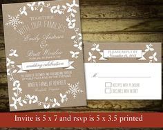 DIY Winter Wedding Invitation printable Rustic by NotedOccasions, $37.50
