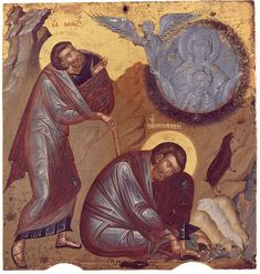 Moses and the Unburnt Bush on Horeb as a type – a prefiguration – of the Most Holy Theotokos, who gave birth to Christ while still remaining a virgin (burning with fire yet unconsumed).