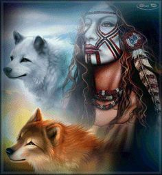 Wolf and Native American Spirituality Native American Wolf, Native American Paintings, Native American Wisdom, Native American Pictures, American Indian Art, American Indians, Animal Spirit Guides, Wolf Spirit Animal, Native Indian