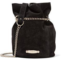 Lanvin Lanvin - Aumoniere Mini Suede Bucket Bag - Black ($970) ❤ liked on Polyvore featuring bags, handbags, shoulder bags, suede leather handbags, lanvin, lanvin purse, bucket bags handbags and mini purses