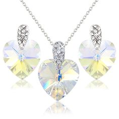 Pretty White Hearts Crystals Necklace and Earring Set with White Swarovski Element Crystals - Gift Present for Her -- Discover this special product, click the image : Jewelry Sets
