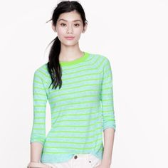 Host Pick J.Crew Cashmere Stripe Sweater Inspired by a classic baseball tee, J.Crew designers gave this cashmere sweater a ringer collar, raglan sleeves and a vented hem—it's a signature mix of luxe and laid-back. True to size. Cashmere in a 12-gauge knit. Hits at hip. Bracelet sleeves. Rib trim at neck, cuffs and hem. NWOT. J. Crew Sweaters Crew & Scoop Necks