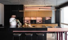 A young couple with a child in Kiev enlisted the help of ater.architects to design their VOV apartment to showcase their love of fashion, music, and art. Black Shelves, Metal Shelves, Concrete Block Walls, Console Sink, Purple Chair, Metal Stairs, Cap Ferret, Design Blog, Design Trends