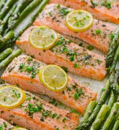 One-Pan Salmon Asparagus recipe with a lemon-garlic-herb butter. Every bite is s… One-Pan Salmon Asparagus recipe with a lemon-garlic-herb butter. Every bite is so juicy and flavorful! A reader favorite, salmon dinner. trying new recipes Easy Healthy Dinners, Healthy Recipes, Delicious Meals, Weeknight Dinners, Healthy Asparagus Recipes, Healthy Dinner Meals, Healthy Meals For Two, Healthy Summer, Vegetable Recipes
