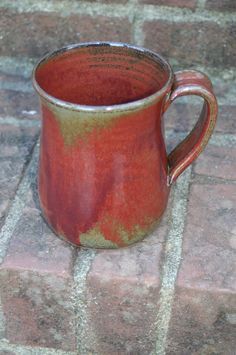 Pottery Mug with Handle in Rusty Red Glaze by Beaverspottery, $15.00