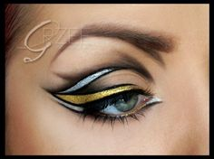 For those of you who want to make eyeliner art for a special occasion, include a silver and gold liner into the design to create an intense look! Source by blackradiancebe arten Eyeliner Designs, Makeup Designs, Art Designs, Make Up Art, Eye Make Up, Punk Makeup, Hair Makeup, Eyeliner Makeup, Crazy Makeup