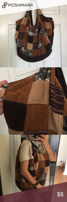 Patchwork hobo purse. Brown patchwork purse. Some wear from age but in great condition otherwise. Bags Hobos