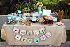 Our dessert table!  The burlap banner and all of the desserts were made by my mother! http://www.etsy.com/shop/HaveABannerDay #maravillagardens