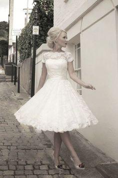 retro krátké svatební šaty krajkové rockabilly 60´s - plesové šaty, svatební šaty, společenský salón