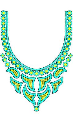 Fashion Motif Neck Embroidery Design