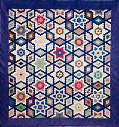 All sizes | Paper template pieced silk quilt, Stars & Diamonds, 1852, made by Marina Jones Gregg | Flickr - Photo Sharing!