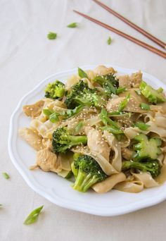 Chicken and broccoli stir fry with rice noodles