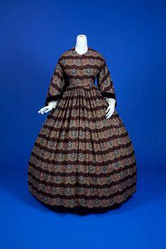 1855-65, Brown Wool Floral Print Dress