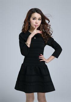 d591c3745dd72 Elegant Dress Women O Neck Cotton Pleated Long Sleeves Above Knee Mini  Dresses